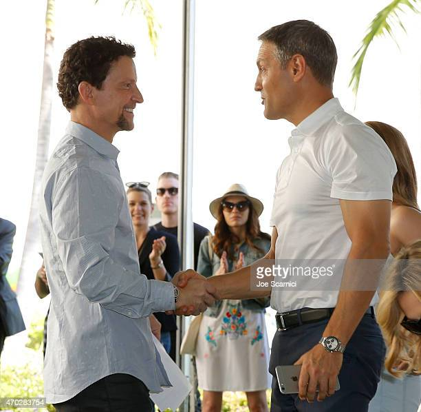 CEO of Hasbro Inc Brian Goldner and coCEO of William Morris Endeavor Ari Emanuel attend the Points of Light generationOn Block Party on April 18 2015...