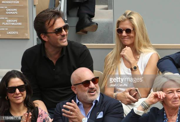 CEO of Havas Yannick Bollore and his wife Chloe Bollore attend the men's final during day 15 of the 2019 French Open at Roland Garros stadium on June...