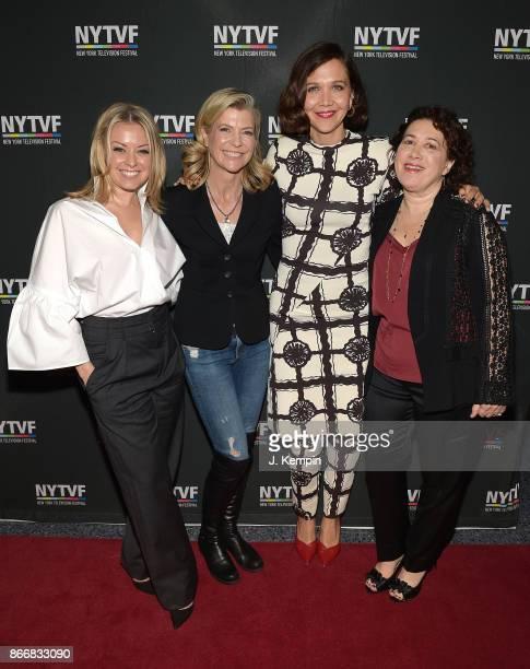 SVP of HBO Programming Kathleen McCaffrey director Michelle MacLaren actress Maggie Gyllenhaal and Nina KostoffNoble visit SVA Theatre on October 26...