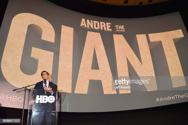 EVP of HBO Sports Peter Nelson speaks onstage during the Los Angeles Premiere of Andre The Giant from HBO Documentaries on March 29 2018 in Los...