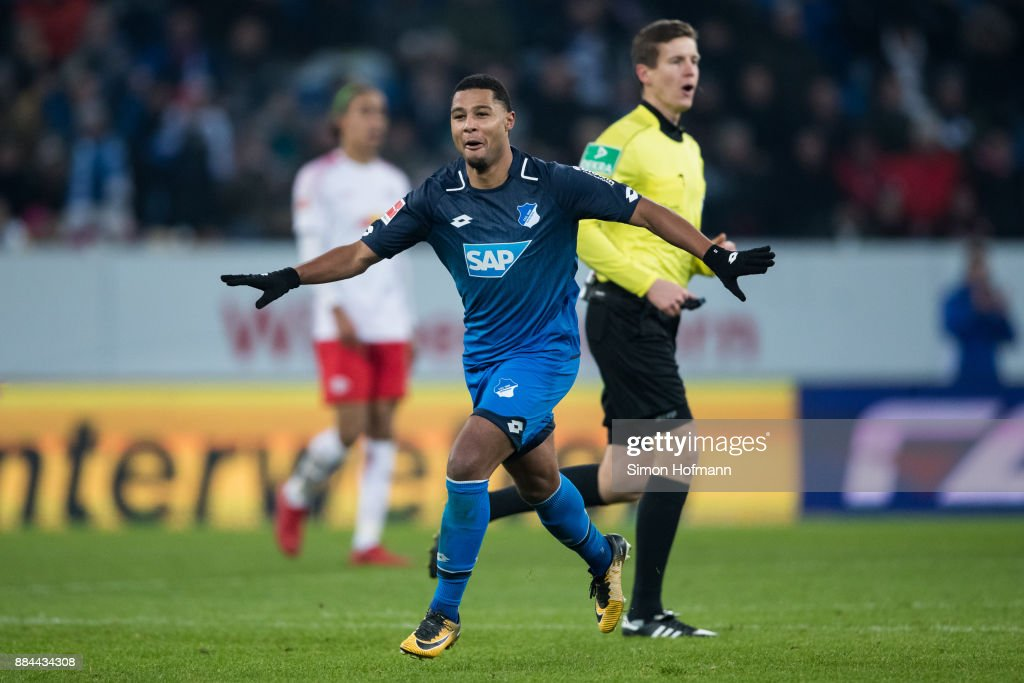 29 of Hoffenheim celebrates his team's third goal during the Bundesliga match between TSG 1899 Hoffenheim and RB Leipzig at Wirsol Rhein-Neckar-Arena on December 2, 2017 in Sinsheim, Germany.