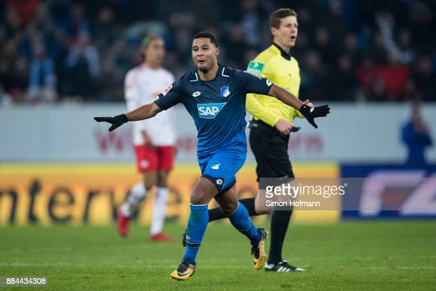 29 of Hoffenheim celebrates his team's third goal during the Bundesliga match between TSG 1899 Hoffenheim and RB Leipzig at Wirsol RheinNeckarArena...