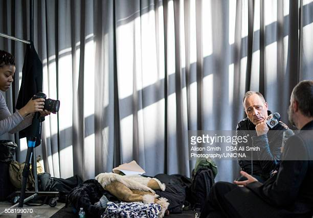 Of HOT 97 interviews Duckie Brown backstage during New York Fashion Week Men's Fall/Winter 2016 at Skylight at Clarkson Sq on February 2, 2016 in New...