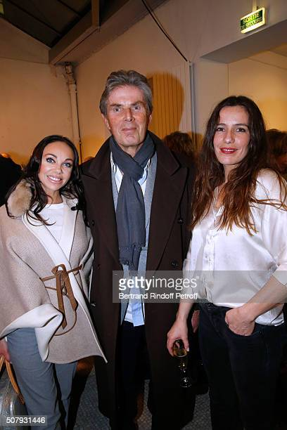 CEO of Hotel Barriere Dominique Desseigne standing between his companion Dancer Alexandra Cardinale and Actress of the Piece Zoe Felix attend the...