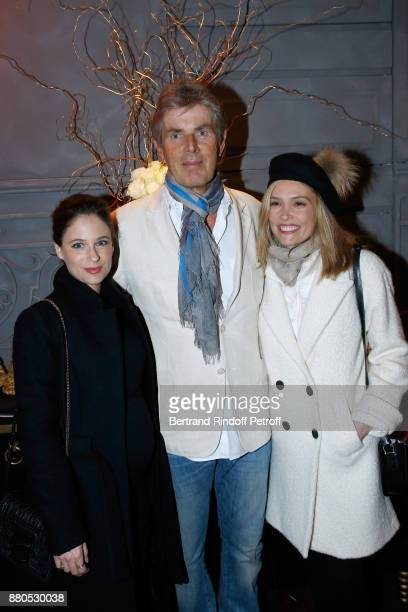 CEO of Hotel Barriere Dominique Desseigne standing between Melanie Bernier and Lilou Fogli attend the Inauguration of the 'Chalet Les Neiges 1850' on...
