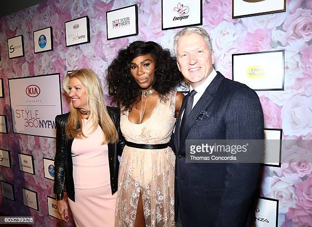 CEO of HSN Mindy Grossman Serena Williams and President of HSN Bill Brand attend HSN Presents Serena Williams Signature Statement Collection Fashion...