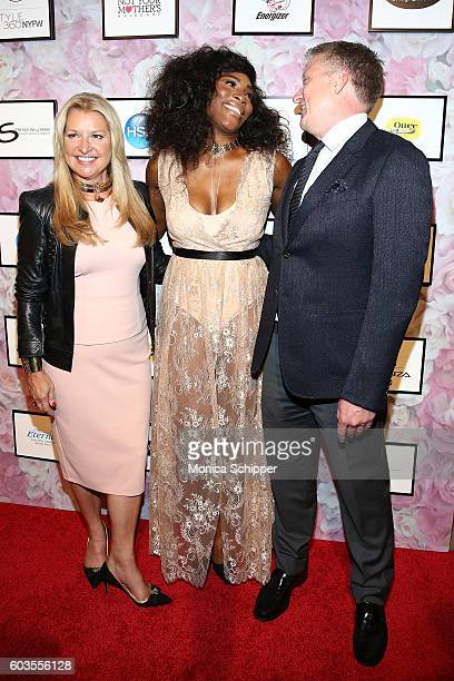 CEO of HSN Mindy Grossman Serena Williams and President of HSN Bill Brand attends the Serena Williams Signature Statement Collection By HSN during...