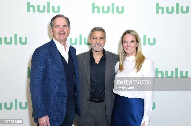 CEO of Hulu Randy Freer George Clooney and CMO of Hulu Kelly Campbell attend the Hulu Panel during the Winter TCA 2019 on February 11 2019 in...