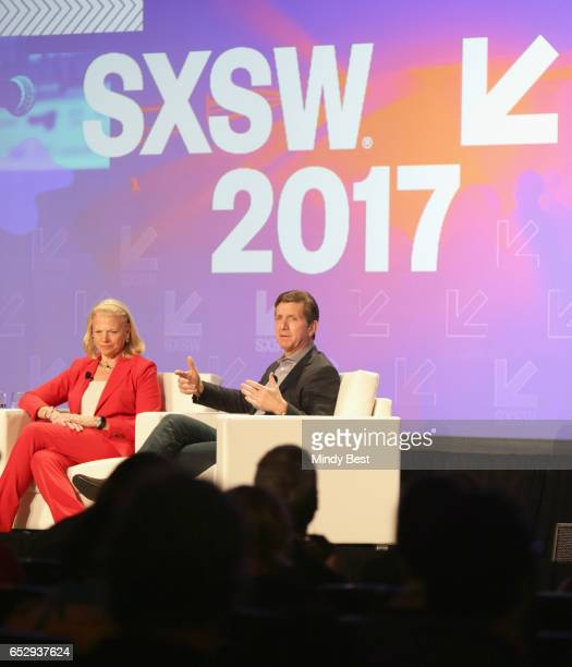 CEO of IBM Ginni Rometty and Chief Executive Officer of Johnson Johnson Alex Gorsky speak onstage at 'Collaborative Innovation in the Digital Health...