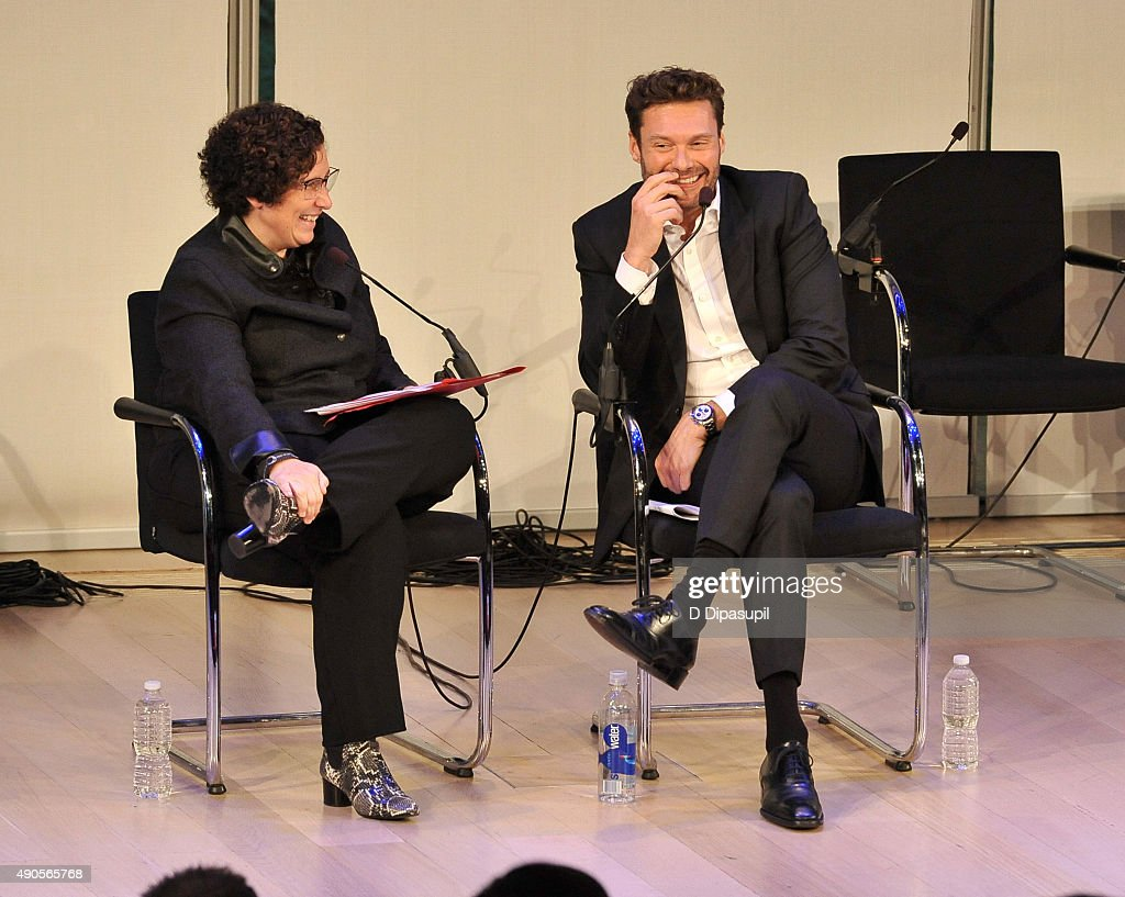 EVP & CMO of iHeartMedia Gayle Troberman and Ryan Seacrest speak onstage at the Sound Strategy: Why Millennials and Gen Z Are Listening More panel presented by iHeartMedia during Advertising Week 2015 AWXII at the Times Center Stage on September 29, 2015 in New York City.
