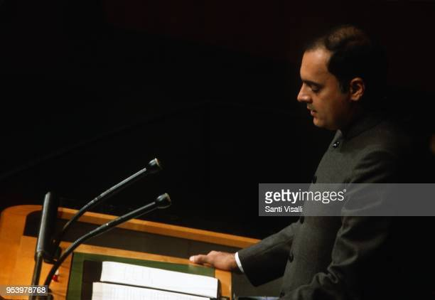 PM of India Rajiv Gandhi speaking at the UN on October 24 1985 in New York New York