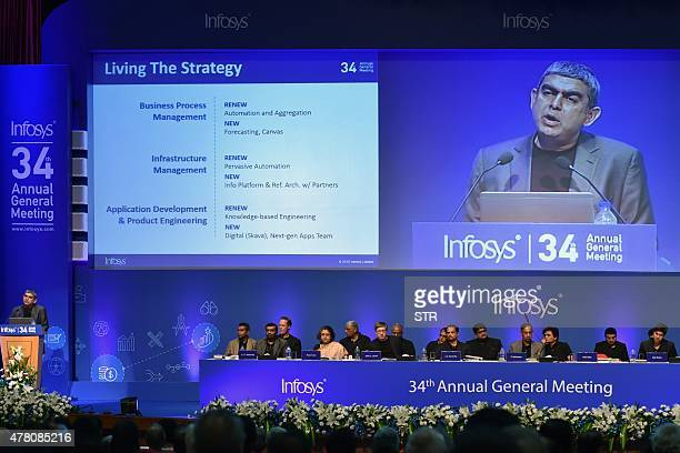 CEO of Infosys Vishal Sikka addresses shareholders at the company's 34th Annual General Meeting in Bangalore on June 22 2015 AFP PHOTO