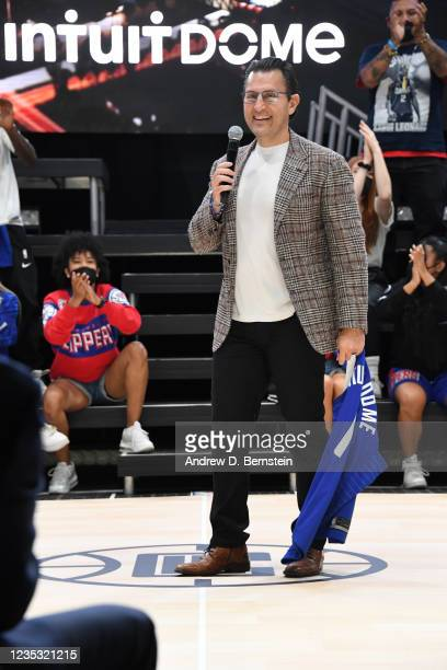 Of Intuit Sasan K. Goodarzi speaks during the LA Clippers ground breaking on Intuit Dome on September 17, 2021 in Inglewood, California. NOTE TO...