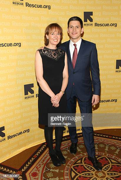 CEO of IRC David Miliband and wife Louise Shackelton attends the 2013 International Rescue Committee Freedom Award Benefit at The Waldorf=Astoria on...
