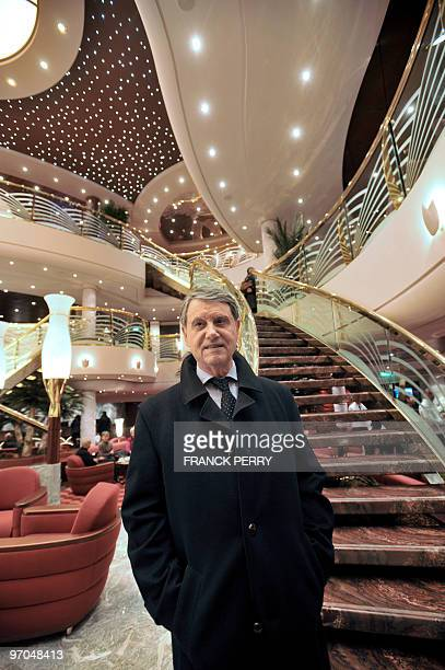 CEO of Italian MSC cruises Gianluigi Aponte answers journalists' questions on February 25 2010 onboard his group's new cruise vessel the Magnifica at...