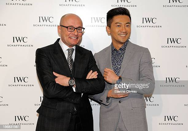 CEO of IWC Georges Kern and actor Alec Su pose for photographs during the IWC Flagship Boutique Opening on November 22 2012 in Beijing China