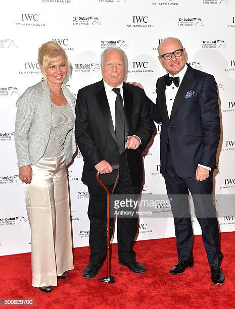 CEO of IWC Schaffhausen Georges Kern poses with Richard Dreyfuss and his wife Svetlana Erokhin during the IWC Filmmaker Award Night 2015 at The One...