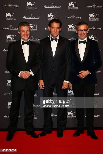 Of Jaeger-LeCoultre Daniel Riedo, actor Clive Owen and Jaeger-LeCoultre Director of Communications Laurent Vinay arrive wearing a Jaeger-LeCoultre...