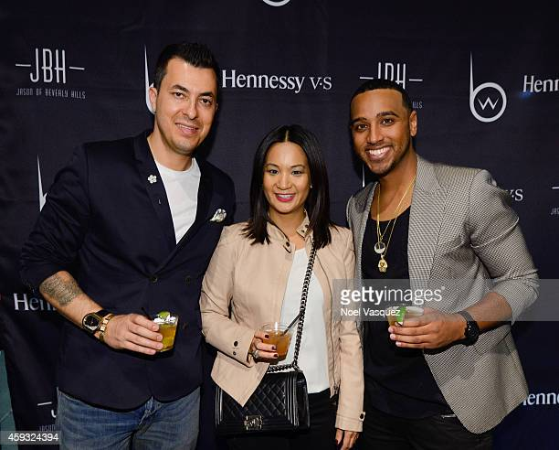 CEO of Jason of Beverly Hills Jason Arasheben Hennessy West Coast Marketing Manager ThuyAnh J Nguyen and Brandon Williams attend Hennessy VS Presents...