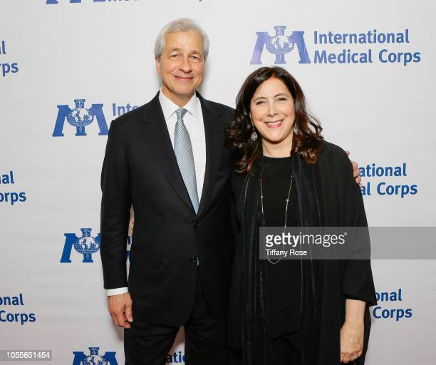 CEO of JPMorgan Chase Jamie Dimon and President and Chief Executive Officer of the International Medical Corps Nancy Aossey attend the International...