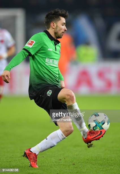 of Julian Korb of Hannover in action during the Bundesliga match between Hamburger SV and Hannover 96 at Volksparkstadion on February 4 2018 in...