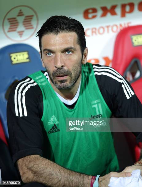 BUFFON of Juventus during the serie A match between FC Crotone and Juventus at Stadio Comunale Ezio Scida on April 18 2018 in Crotone Italy