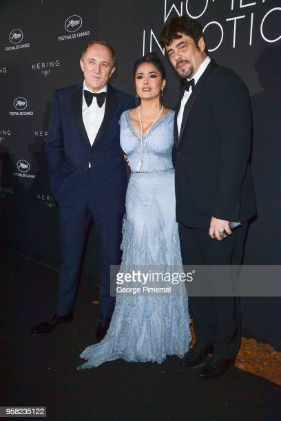 Of Kering Francois-Henri Pinault, Salma Hayek Pinault and Benicio del Toro attend the Kering Women In Motion dinner during the 71st annual Cannes...