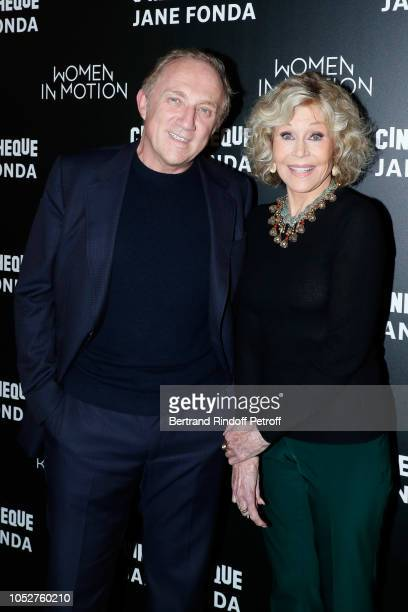 """Of Kering Group, Francois-Henri Pinault and actress Jane Fonda attend the Kering """"Women in Motion"""" Master Class With Jane Fonda At La Cinematheque..."""
