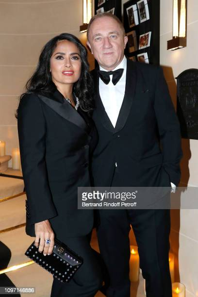 CEO of Kering Group FrancoisHenri Pinault and his wife actress Salma Hayek attend the Boucheron Cocktail Party at Place Vendome on January 20 2019 in...