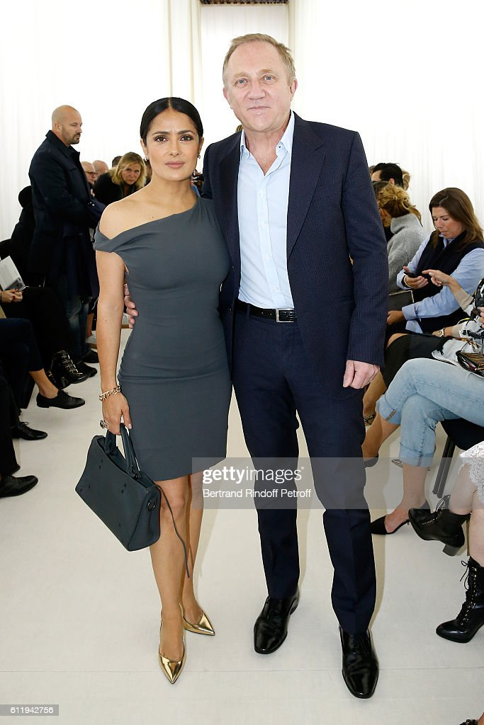 CEO of Kering Group, Francois-Henri Pinault and his wife actress Salma Hayek attend the Balenciaga show as part of the Paris Fashion Week Womenswear Spring/Summer 2017 on October 2, 2016 in Paris, France.
