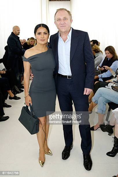 CEO of Kering Group FrancoisHenri Pinault and his wife actress Salma Hayek attend the Balenciaga show as part of the Paris Fashion Week Womenswear...