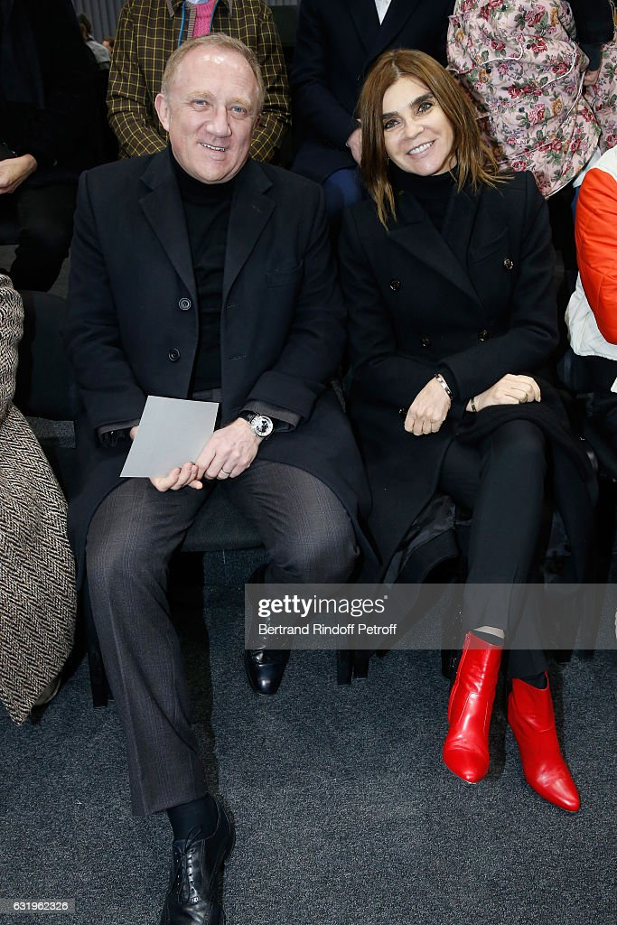 CEO of Kering Group, Francois-Henri Pinault and journalist Carine Roitfeld attend the Balenciaga Menswear Fall/Winter 2017-2018 show as part of Paris Fashion Week on January 18, 2017 in Paris, France.