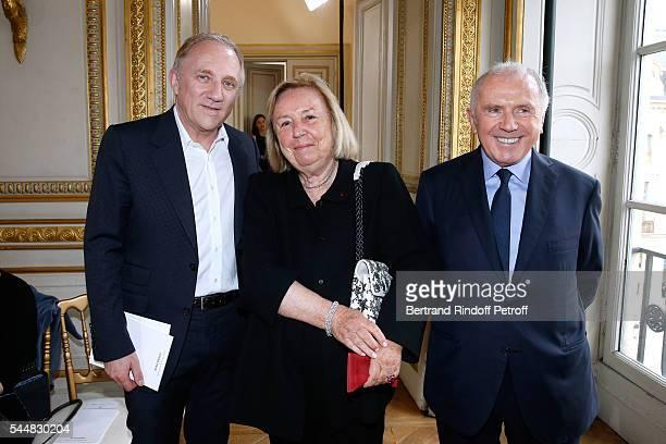 "Of Kering Group, Francois-Henri Pinault, Maryvonne Pinault and her husband Francois Pinault attend the Presentation of Maison Boucheron New ""Haute..."