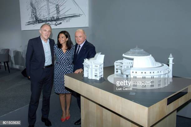 CEO of Kering Group FrancoisHenri Pinault Mayor of Paris Anne Hidalgo and Francois Pinault attend the Press Conference to announce the transformation...