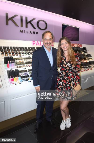 CEO of KIKO Milano Cosmetics Frank Furlan and Claudia Vergara attend Louise Roe For Kiko Milano At Kiko Milano Hollywood Venue on October 14 2017 in...