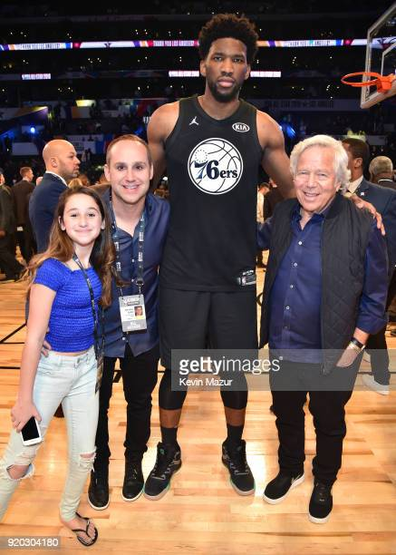 CEO of Kinetic Michael G Rubin Joel Embiid and CEO of the New England Patriots Robert Kraft attend the 67th NBA AllStar Game Team LeBron Vs Team...