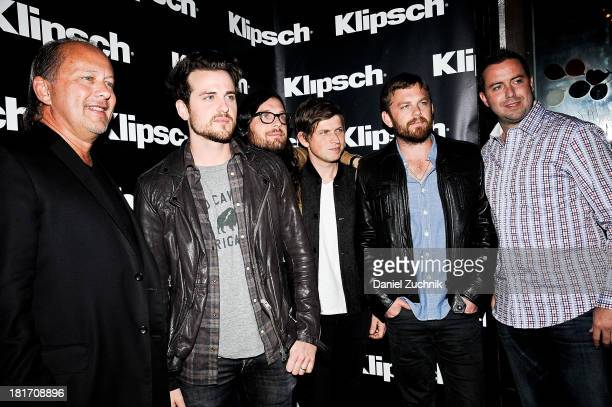 CEO of Klipsch Paul Jacobs Jared Followill Nathan Followill Matthew Followill Caleb Followill and guest attend the Kings Of Leon 'Mechanical Bull'...