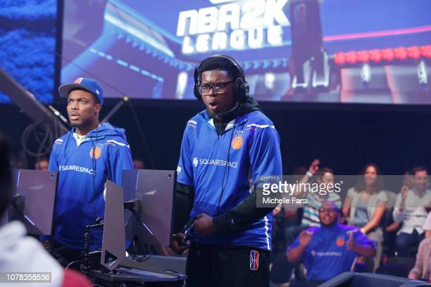 Y 757 of Knicks Gaming gets hyped as they play against Cavs Legion GC during the NBA 2K League Mid Season Tournament on June 8 2018 at the NBA 2K...