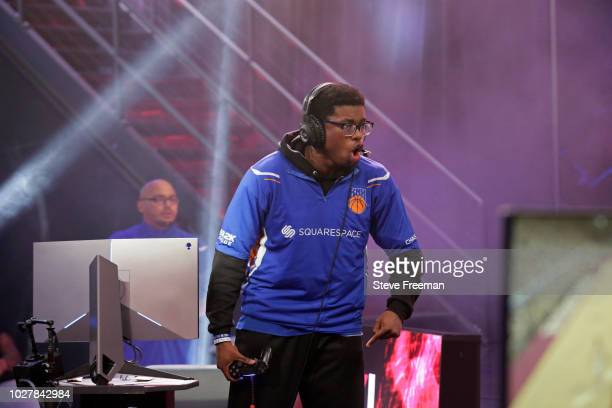 Y 7 5 7 of Knicks Gaming gets hyped during the game against Cavs Legion Gaming Club during the Semifinals of the NBA 2K League Playoffs on August 18...
