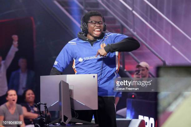 Y 7 5 7 of Knicks Gaming reacts during the game against Cavs Legion Gaming Club during the Semifinals of the NBA 2K League Playoffs on August 18 2018...