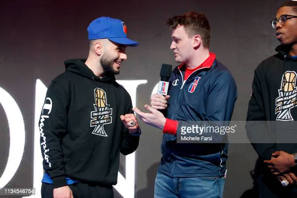 IAMADAMTHE1ST of Knicks Gaming speaks to Jamie Ruiz before the game against Nets Gaming Club during Day One of the NBA 2K League Tip Off Tournament...