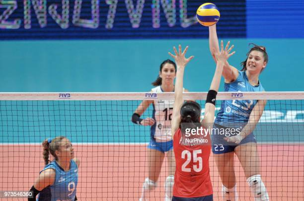 of Korea against AGNES VICTORIA MICHEL TOSI of Argentina during FIVB Volleyball Nations League match between Argentina and South Korea at the stadium...