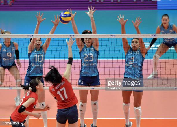 of Korea against CLARISA SAGARDIA ANAHI FLORENCIA TOSI AGNES VICTORIA MICHEL TOSI PAULA YAMILA NIZETICH of Argentina during FIVB Volleyball Nations...