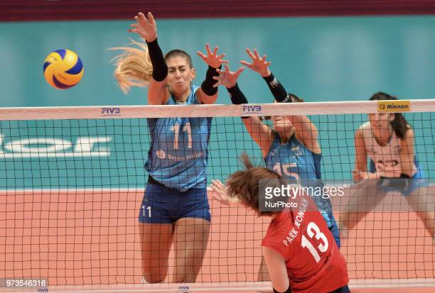 of Korea against JULIETA CONSTANZA LAZCANO and ANTONELA FORTUNA of Argentina during FIVB Volleyball Nations League match between Argentina and South...