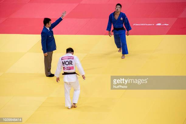 AN CHANGRIM of Korea againts ONO SHOHEI of Japan in final gold men's 73 kg SHOHEI won gold in Jakarta Indonesia on August 30 2018 Judo Final Men and...