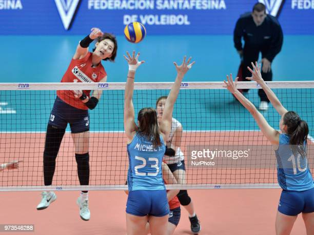 of Korea and AGNES VICTORIA MICHEL TOSI of Argentina during FIVB Volleyball Nations League match between Argentina and South Korea at the stadium of...