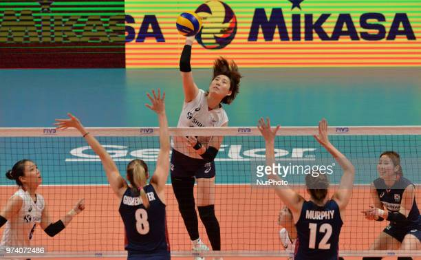 of Korea in action against KELLY MURPHY and LAUREN GIBBEMEYER of USA during FIVB Volleyball Nations League match between South Korea and USA at the...