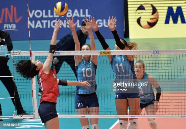 of Korea vies ANAHI FLORENCIA TOSI and JULIETA CONSTANZA LAZCANO of Argentina during FIVB Volleyball Nations League match between Argentina and South...