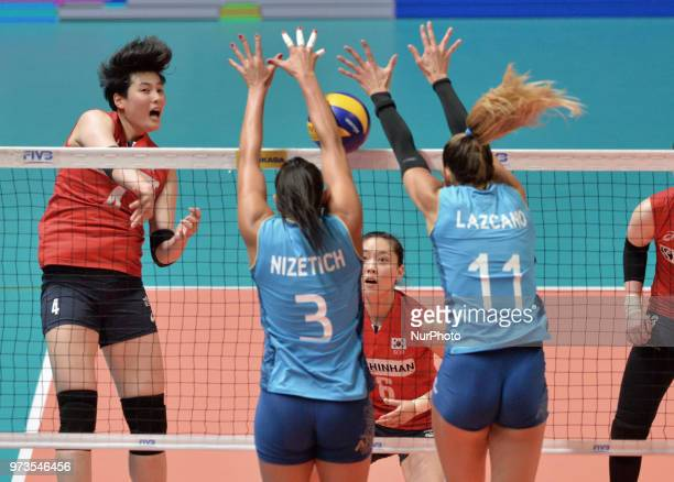 of Korea vies PAULA YAMILA NIZETICH and JULIETA CONSTANZA LAZCANO of Argentina during FIVB Volleyball Nations League match between Argentina and...
