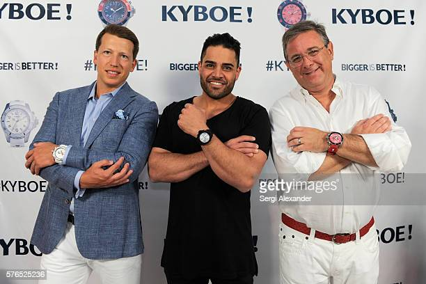 Of KYBOE! Joe Roos, Michael Shouhed and CEO of KYBOE! Marc Bell pose at the KYBOE! Watches Miami Swim Week fashion show on July 15, 2016 in Miami...